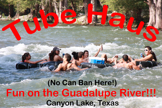 Guadalupe River Tubing in Fun Rapids at Tube Haus, Canyon Lake, Texas